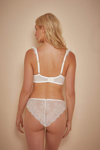 Wolf & Whistle Millie Demi Padded Eyelash Lace Bra Ivory B- F