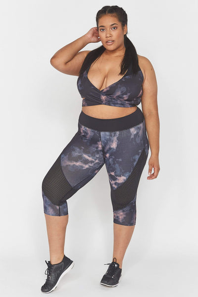 Wolf & Whistle Dark Marble Cropped Curve Leggings