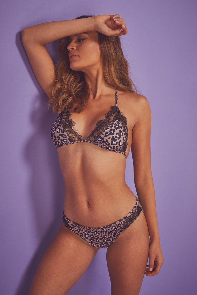 Wolf & Whistle Eco Leopard Lace Trim Triangle Bikini Top