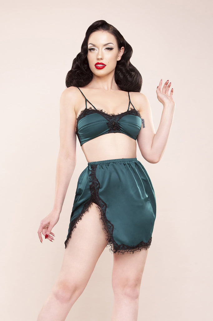 Bettie Page Satin & Lace Bralette & Slip Skirt