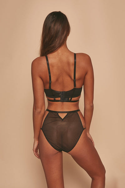 Wolf & Whistle Jade Panelled Longline Bra Black