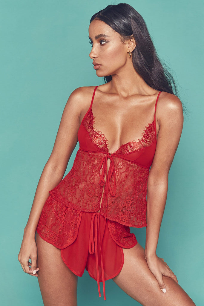 Wolf & Whistle Lottie Lace open front cami PJ set