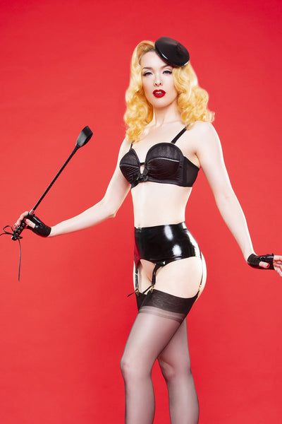 Bettie Page Black Latex Mini Beret