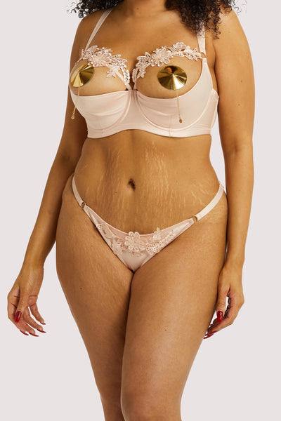 Playful Promises Virginia Peach Guipure Curve Brief