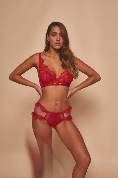 Wolf & Whistle Megan Red Tulle and Lace Bra