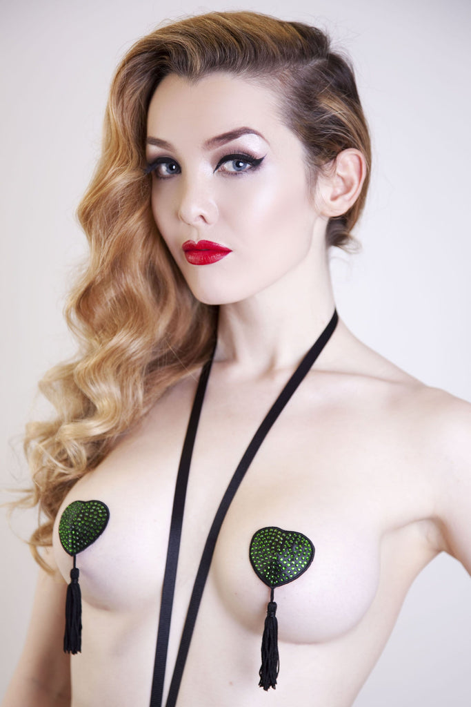 Frida Nipple Tassels – Green Beaded Heart Shape