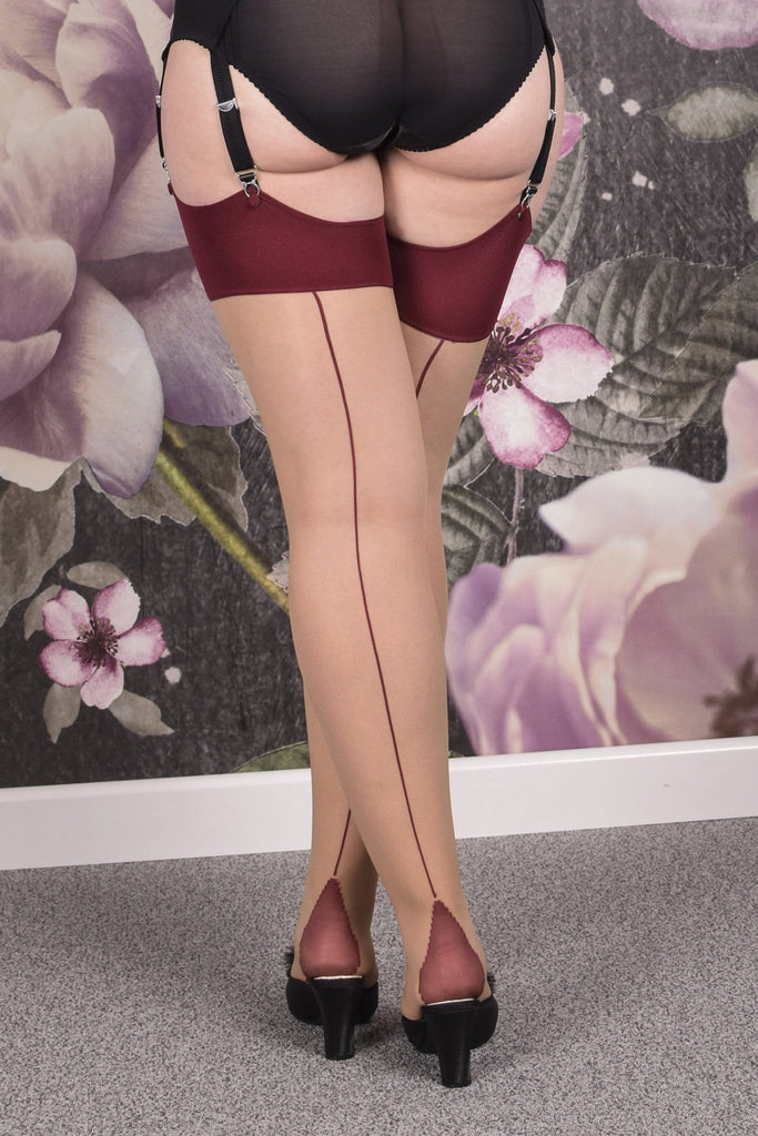 what katie did nude and red burgundy contrast stockings seamed retro vintage
