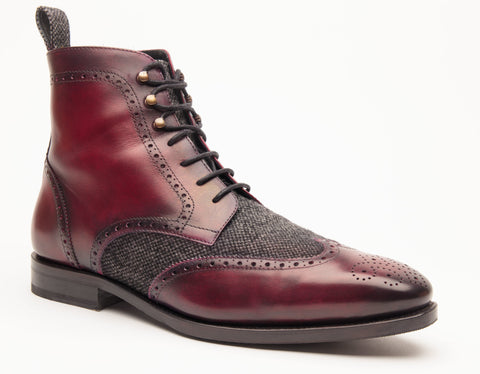 Red Lace up Patina Boot
