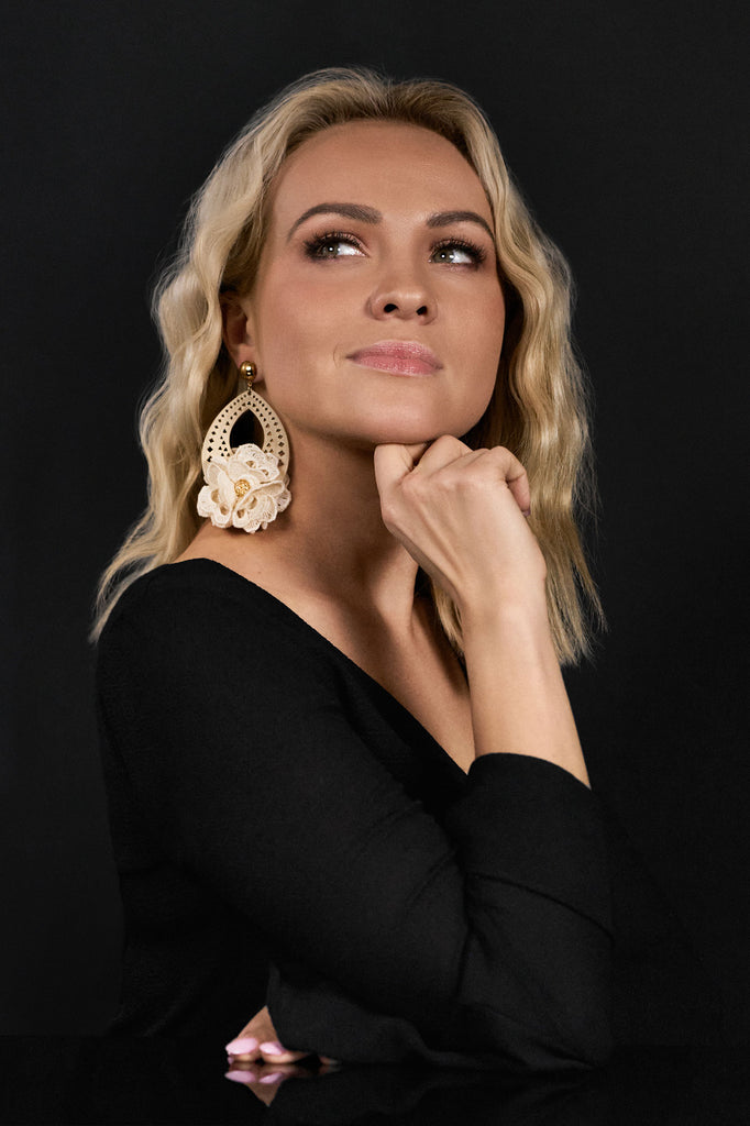 Jolene Earrings in Pale Ivory