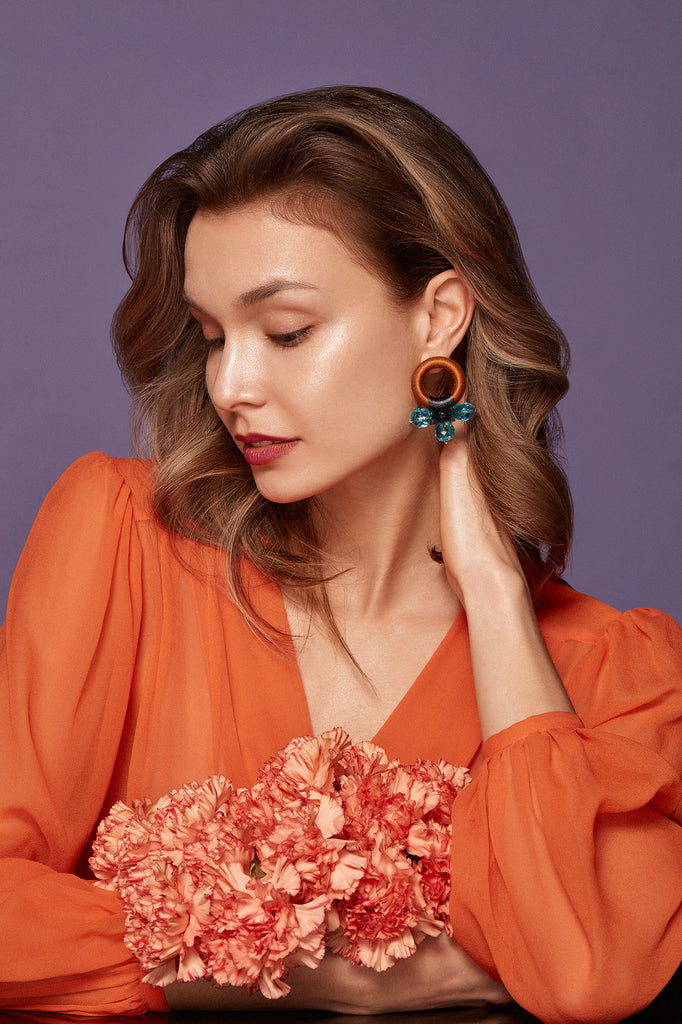 Saulė Earrings in Azure Honey
