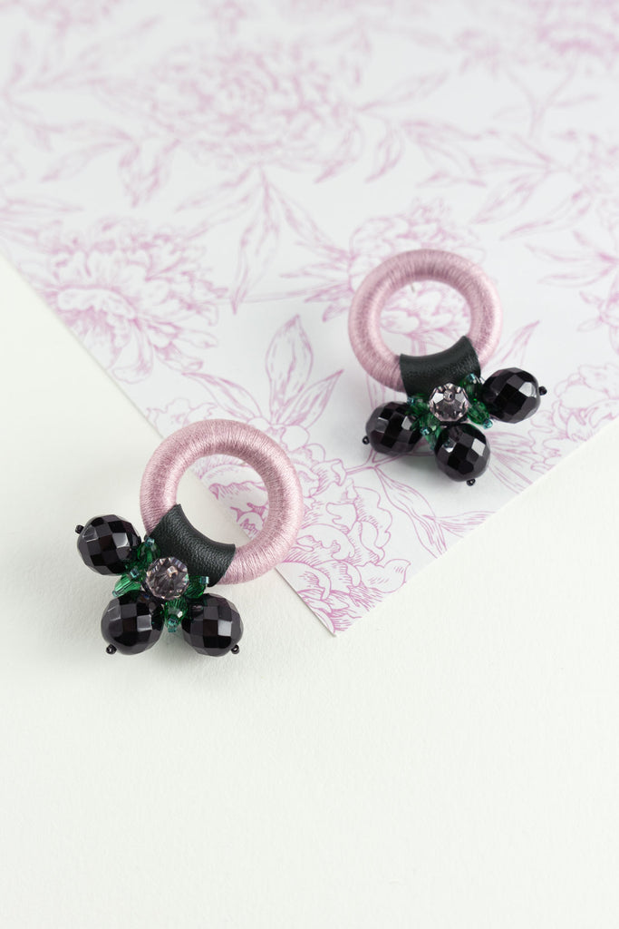Saulė Earrings in Blush Ink