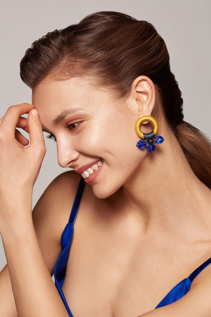 Saulė Earrings in Jessamine Cobalt