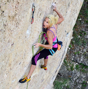 Lisa Horst climbing Goodluck Jonathan, Ten Sleep, WY.