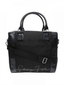 Sean John, mens smart black messenger bag