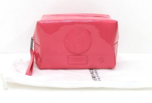Versace Pink Patent Cosmetic Pouch With Dust Bag