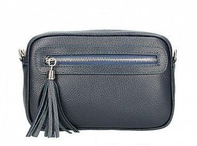 GINA , SMALL LEATHER CROSS BODY BAG WITH HANDLE DETAIL , NAVY