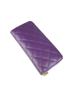 QUILTED LEATHER PURSE , PURPLE
