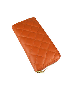 QUILTED LEATHER PURSE , ORANGE