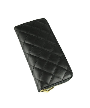 QUILTED LEATHER PURSE , BLACK