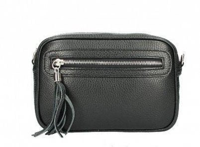 Anita , leather small cross-body , black