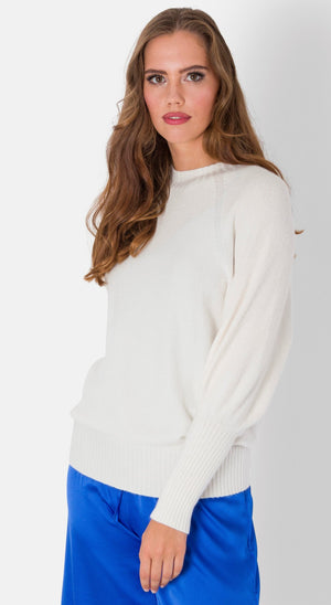 Abbie , Puffer Sleeve knitted Jumper , cream