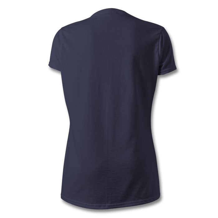 LOGO , V-NECK T-SHIRT , WOMEN , NAVY