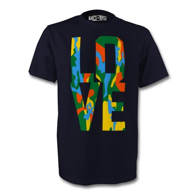 LOVE , CAMOUFLAGE UNISEX T-SHIRT , NAVY WITH YELLOW