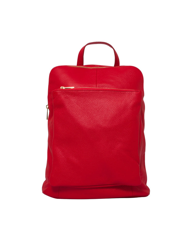 Ricky , Leather Rucksack , Red