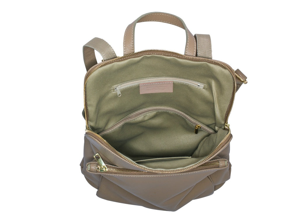 Ricky , Leather Rucksack , Taupe