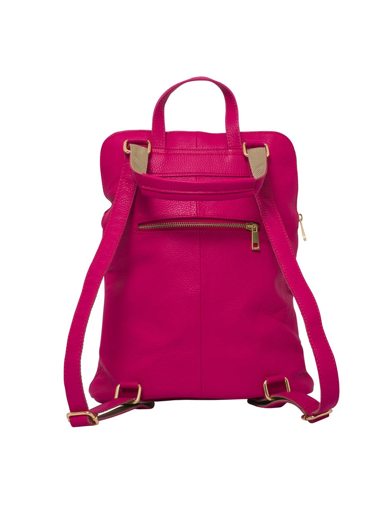 Ricky, Leather Rucksack , Fucshia