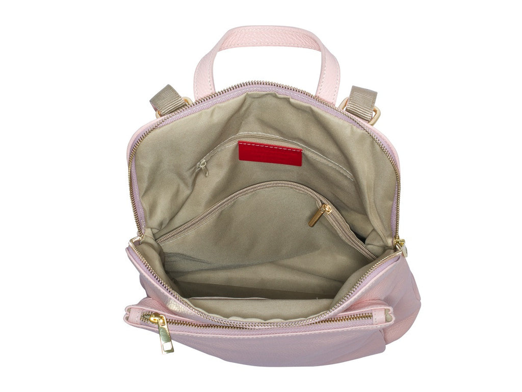 Ricky, Leather Rucksack , Pink