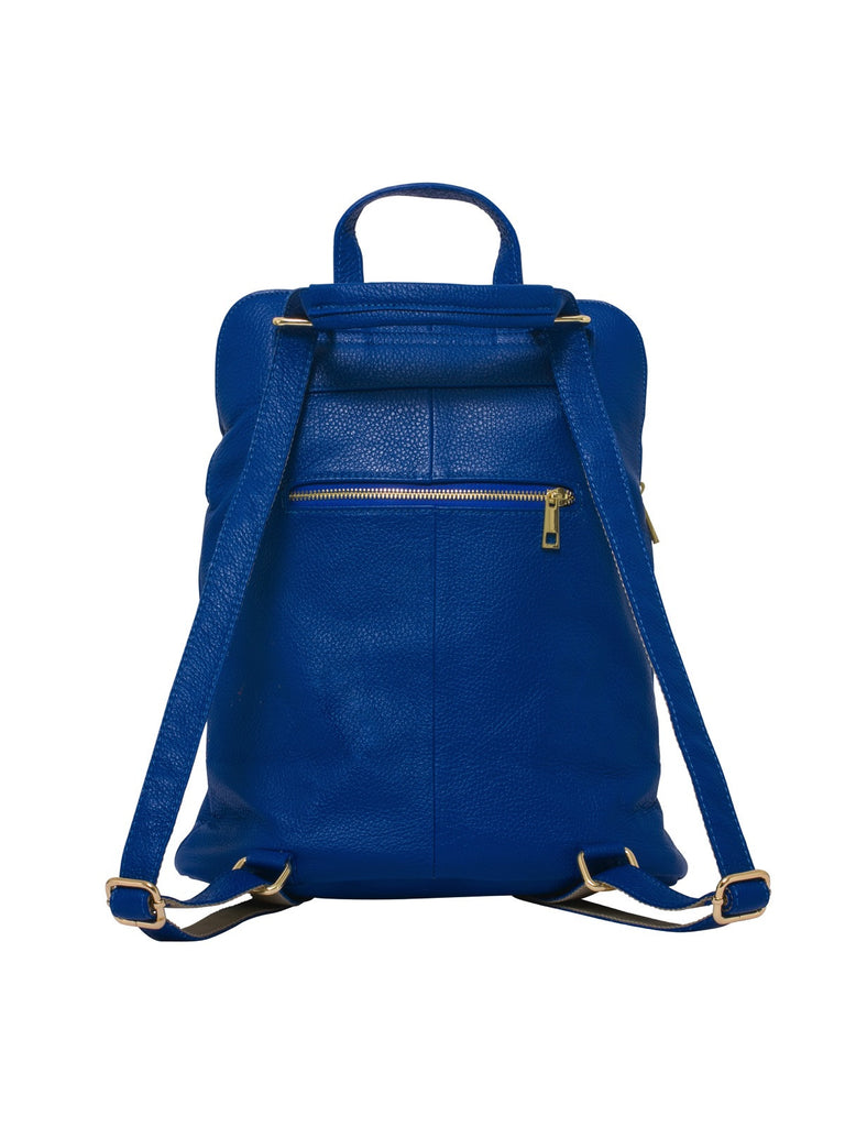 Ricky , Leather Rucksack , Royal Blue