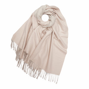 Two Tone Cashmere Mix Scarf , Pale Taupe and Pale Pink