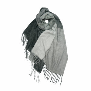 Giorgio , Eight Check Multi Colour Wool Mix Scarf , Grey + Black , Reduced from £35 to £20