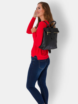 Isabelle , Pebble Leather Rucksack , Black