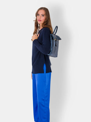 Isabelle , Metallic Leather Rucksack , Blue