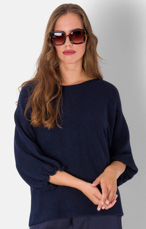 Gina , PUFFER 3/4 SLEEVE KNITTED TOP , navy blue