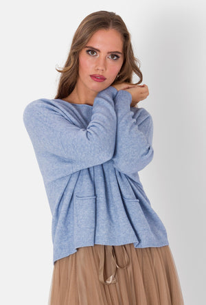 DIDI , BOX JUMPER WITH POCKET DETAIL , BABY BLUE