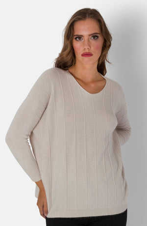 GAIL , BOX JUMPER WITH RIB DETAIL AND TAPERED SLEEVE , CREAM