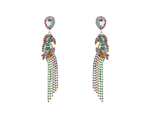 Paroque , Multi Colour Crystal Earrings , Costume Jewellery , Silver ,