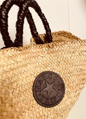 Marco Tripoli Sicilian Leather Trimmed Raffia Bag