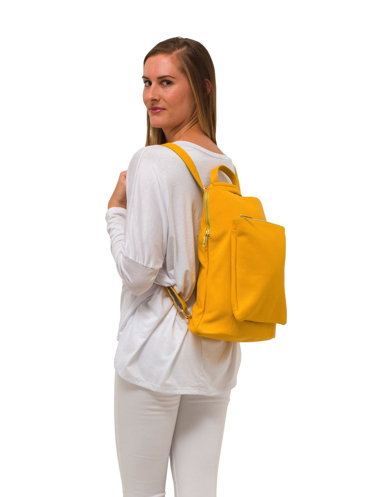 Ricky, Leather Rucksack , Yellow