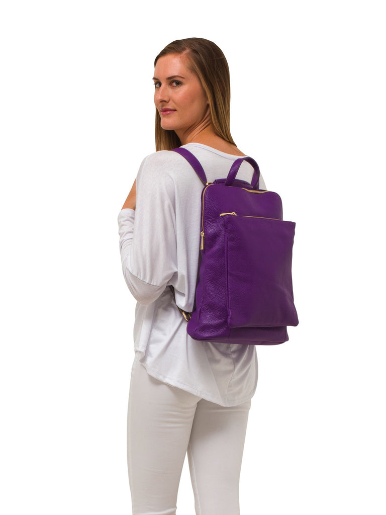 Ricky , Leather Rucksack , Purple