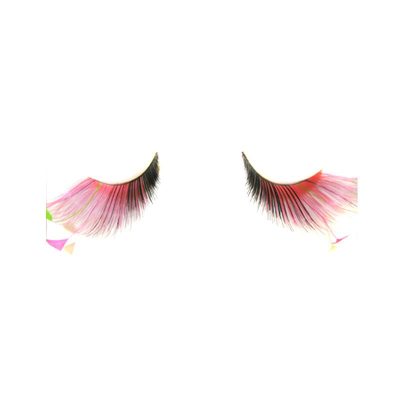 Eldora S132 Black Pink Synthetic Feather Winged False Eyelashes