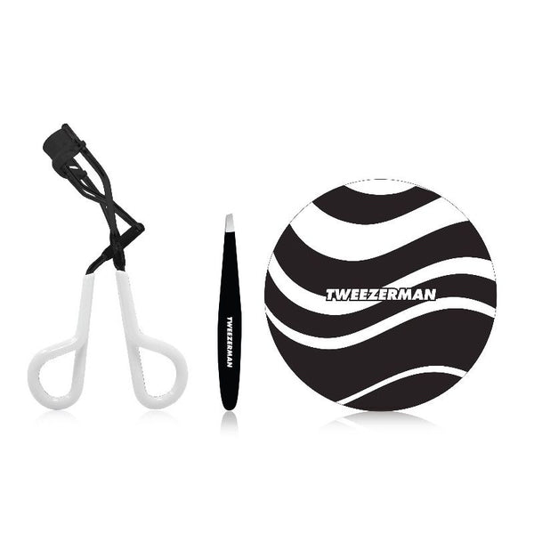 TWEEZERMAN Onyx Limited Edition Tweezers Mirror and Lash Curler Set