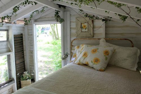 white cottagecore bedroom
