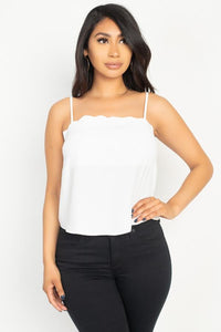 Scallop Opening Cami Top - Miss Vibes Boutique