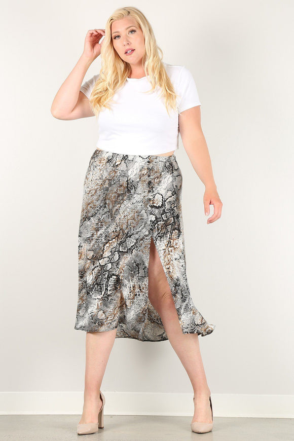 Snakeskin Print Skirt With High Waist, Button Trim, And Side Slit - Miss Vibes Boutique