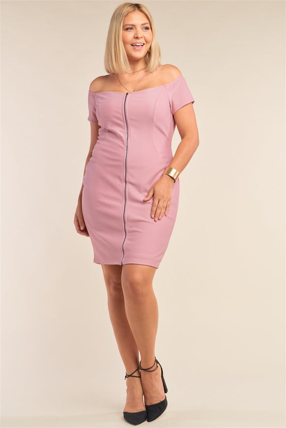 Plus Size Fitted Off-the-shoulder Front Zipper Bodycon Mini Dress-Miss Vibes Boutique