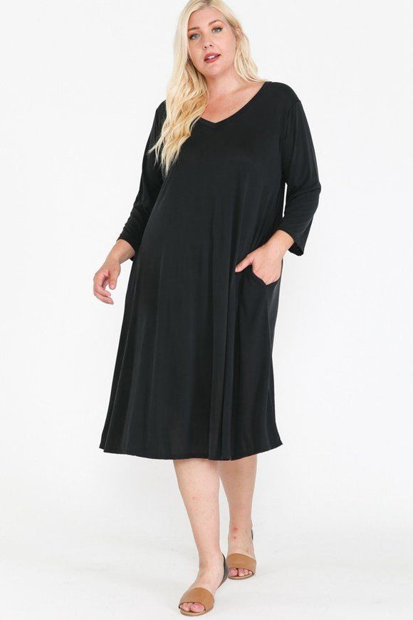 V Neck Hidden Pocket Swing Dress-Miss Vibes Boutique
